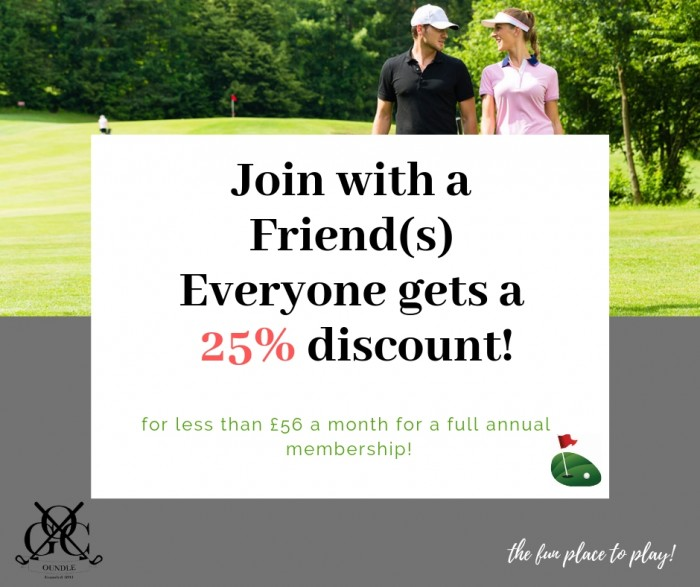 Oundle Golf Club friends membership offer 2019